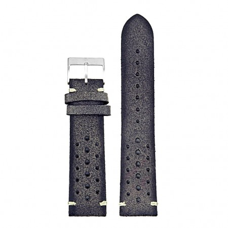 DASSARI Speedster ra2.7 Perforated Vintage Leather Rally Strap in Grey