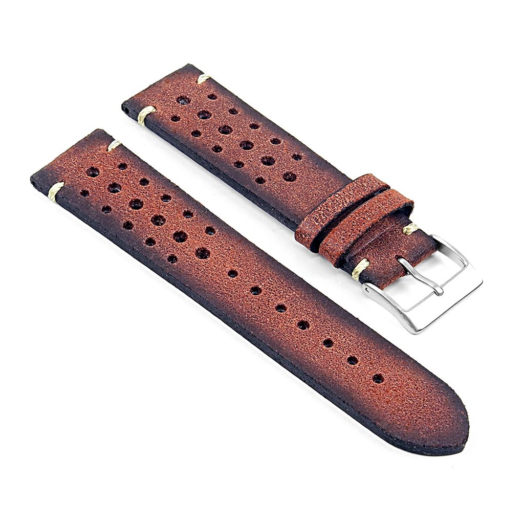 DASSARI Speedster ra2.8 Perforated Vintage Leather Rally Strap in Red