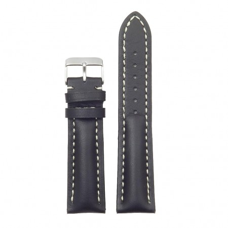 DASSARI Transit brb2.1.22 Smooth Italian Leather Strap black with white stitching