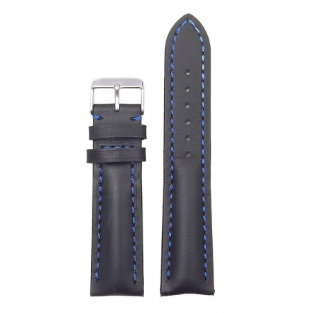 DASSARI Transit brb2.1.5 Smooth Italian Leather Strap black with blue stitching