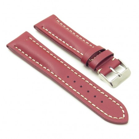 DASSARI Transit brb2.6.22 Smooth Italian Leather Strap red with white stitching