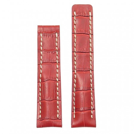 DASSARI Vantage brt11.c.3 Padded Crocodile Embossed Leather Strap for Deployment Clasp in red