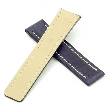 DASSARI Venture brc1.5.22 Distressed Italian Leather Watch Strap for BREITLING blue with white stitching
