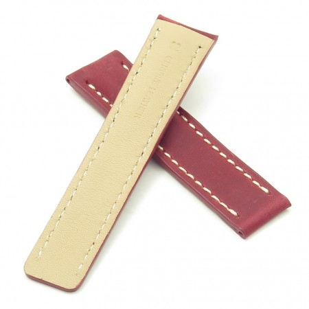 DASSARI Venture brc1.6.22 Distressed Italian Leather Watch Strap for BREITLING red with white stitching