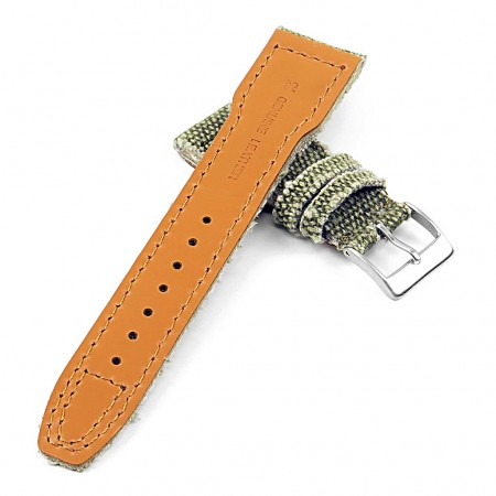 DASSARI Weave iw7.11 Frayed Edge Canvas Strap w Rivets in Green