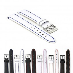 Gallery 372 Flat Leather Watch Strap with Contrast Stitching