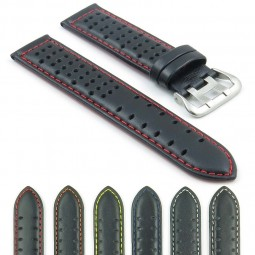 380.1.6 Perforated Leather Rally Watch Strap in Black with Red Stitching