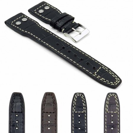 Gallery DASSARI Special Reserve iw4 Genuine Louisiana Alligator Strap with Rivets