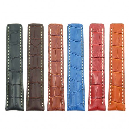 all Color DASSARI Vantage brt11.c Padded Crocodile Embossed Leather Strap for Deployment Clasp