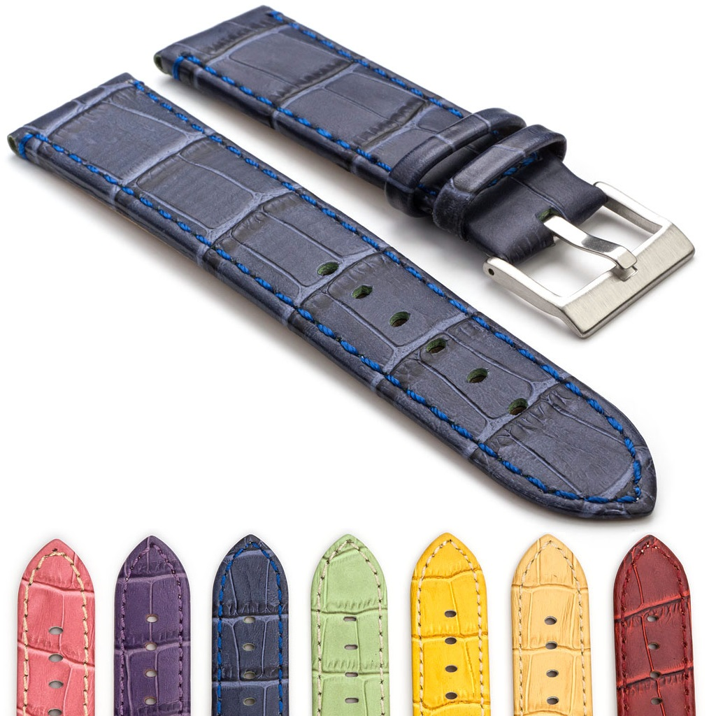 Crocodile Embossed Flat Leather Watch Strap Strapsco