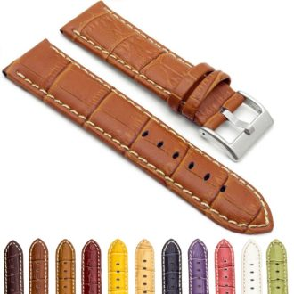 b993a2dab Crocodile Embossed Padded Leather Watch Strap with Contrast Stitching