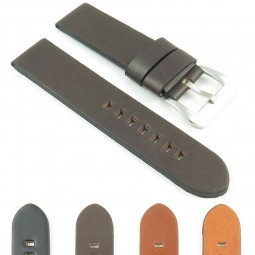 383.2 Thick Flat Leather Watch Strap in Dark Brown