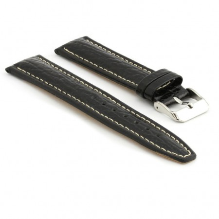p339.1 Water Resistant Leather Watch Strap in Black