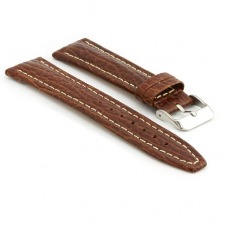 p339.3 Shark Skin Embossed Leather Watch Strap in Brown