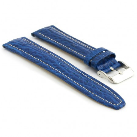 p339.5 Shark Skin Embossed Leather Watch Strap in Blue