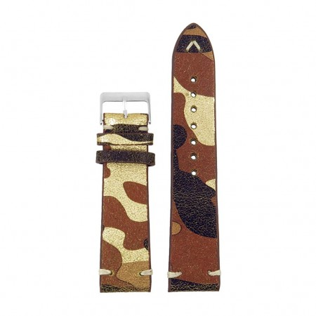 st16.17 Suede Camo Watch Strap in Mettalic camo