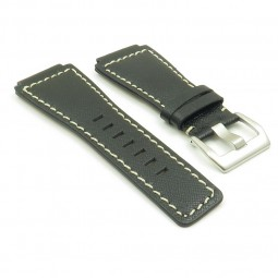 BR4.1.22 DASSARI Cayenne Saffiano Leather Watch Strap for Bell and Rosss in black with white stitching
