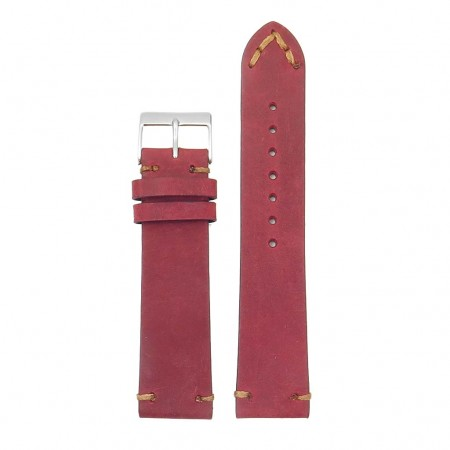 DASSARI Tribute Vintage Italian Leather Distressed Watch Strap in red