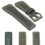 Gallery BR4.1.22.mb DASSARI Cayenne Saffiano Watch Strap for Bell and Ross with Matte Black Bucklein black with white stitching