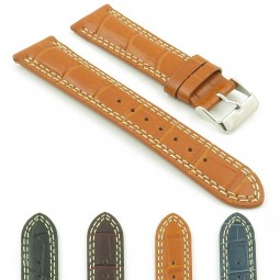 DASSARI President p603.3 Croc Embossed Leather Strap in Tan