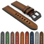 Gallery st79.mb Faded Thick Vintage Leather Watch Strap with Black Pre-V Buckle