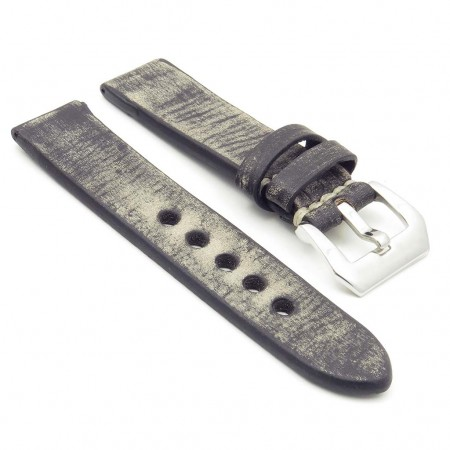 st10.1 Thick Distressed Leather Strap in black
