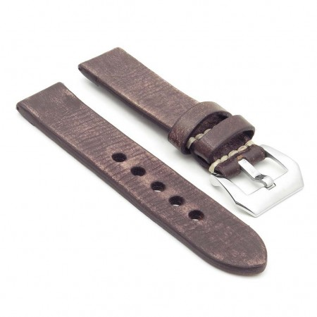 st10.2 Thick Distressed Leather Strap in dark brown
