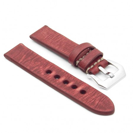 st10.6 Thick Distressed Leather Strap in red