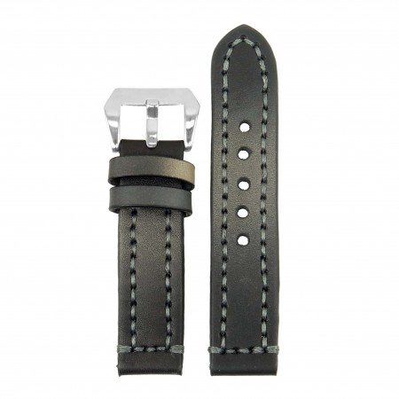 st12.1 Thick Leather Strap with Darkened Ends in black