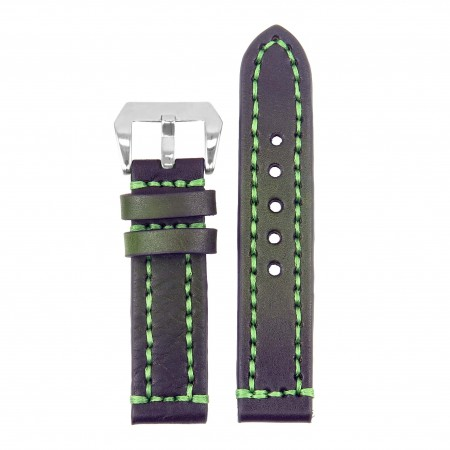 st12.11 Thick Leather Strap with Darkened Ends in green