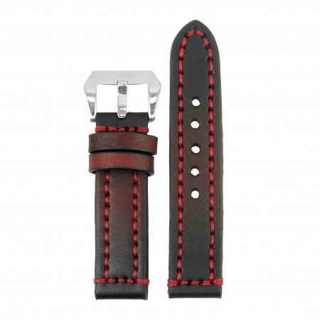 st12.6 Thick Leather Strap with Darkened Ends in red