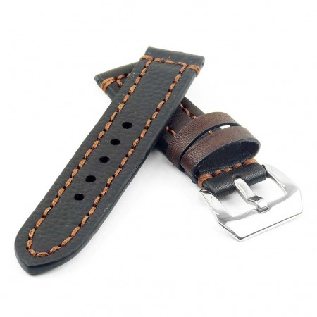 st12.9.mb Thick Leather Strap with Darkened Ends in dark brown