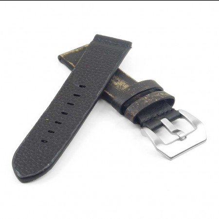 st13.1 Destroyed Thick Leather Strap in Black