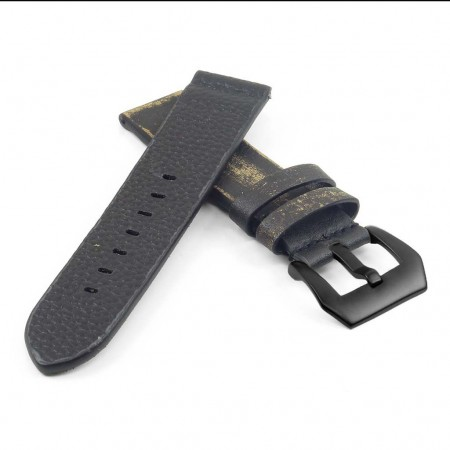 st13.1.mb Destroyed Thick Leather Strap in black