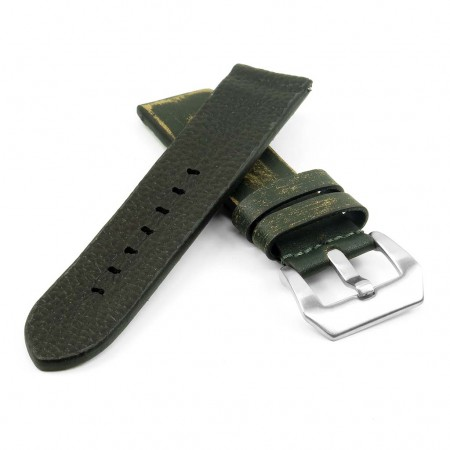 st13.11 Destroyed Thick Leather Strap in green