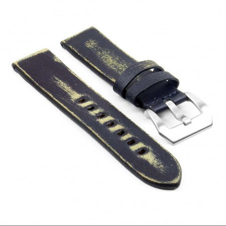 st13.5 Destroyed Thick Leather Strap in blue