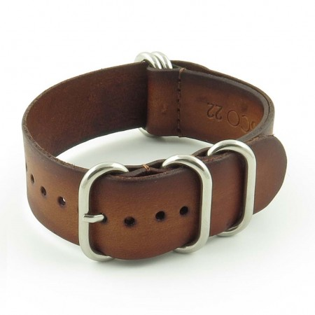 st793.3 Faded Vintage Leather NATO Strap in Brown