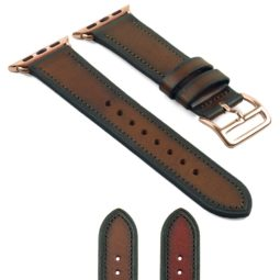 DASSARI Vintage Leather Strap for Apple Watch w Rose Gold Buckle