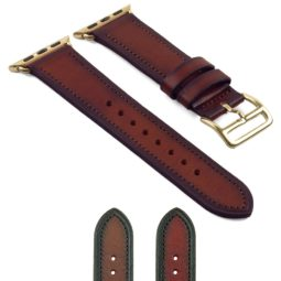 DASSARI Vintage Leather Strap for Apple Watch w Yellow Gold Buckle