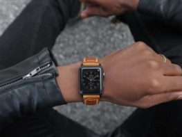 Tan Stitched Leather Apple Watch Band Strap