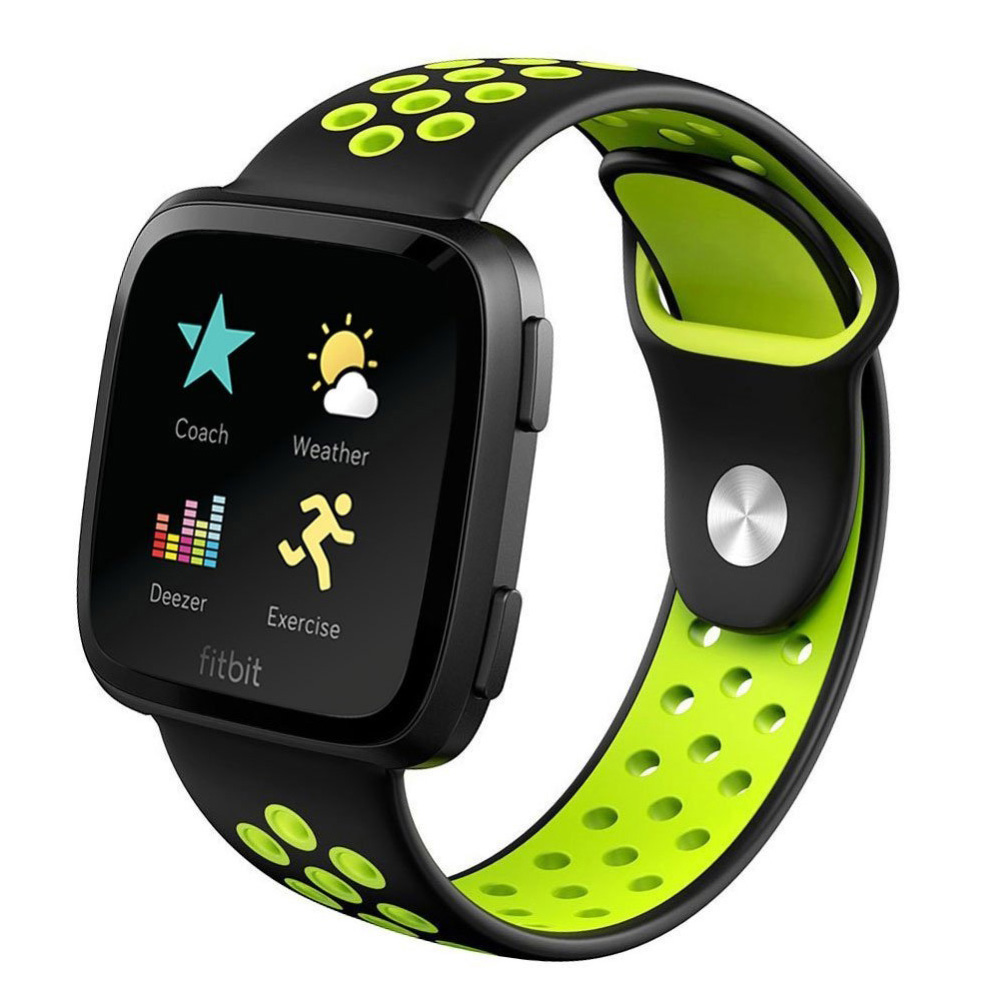 Black & Green Perforated Rubber Rally Watch Band Strap For Fitbit Versa