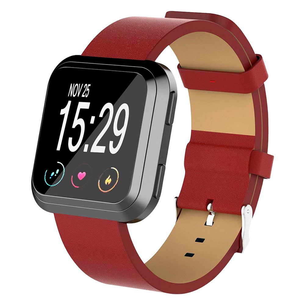 Red Leather Watch Band Strap For Fitbit Versa
