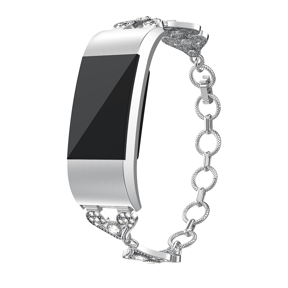 metal bracelet with rhinestones for fitbit charge 2 strapsco