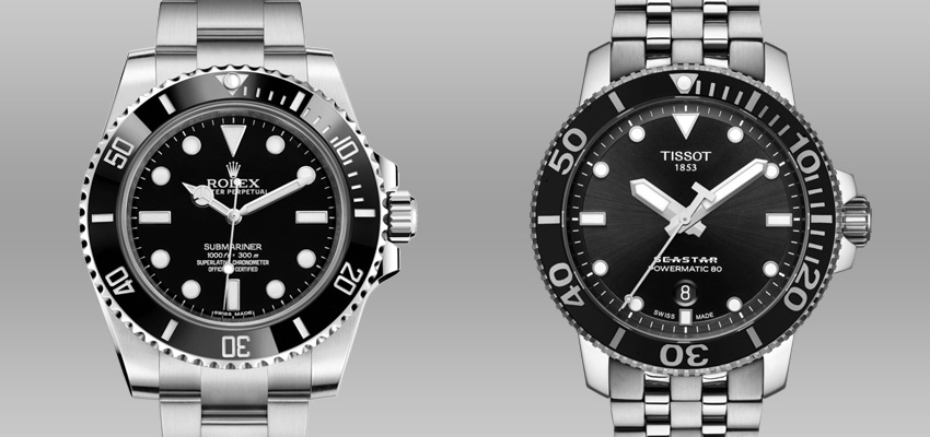 Splurge Vs Save Less Expensive Alternatives To Famous Luxury Watches Rolex Submariner Tissot Seastar 1000 Powermatic 80 2