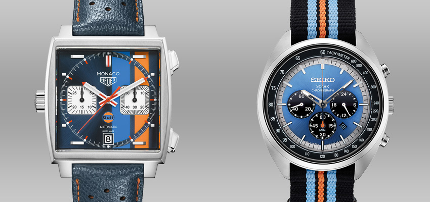 Splurge Vs Save Less Expensive Alternatives To Famous Luxury Watches Tag Heuer Monaco Gulf Racing Seiko Recraft Ssc667