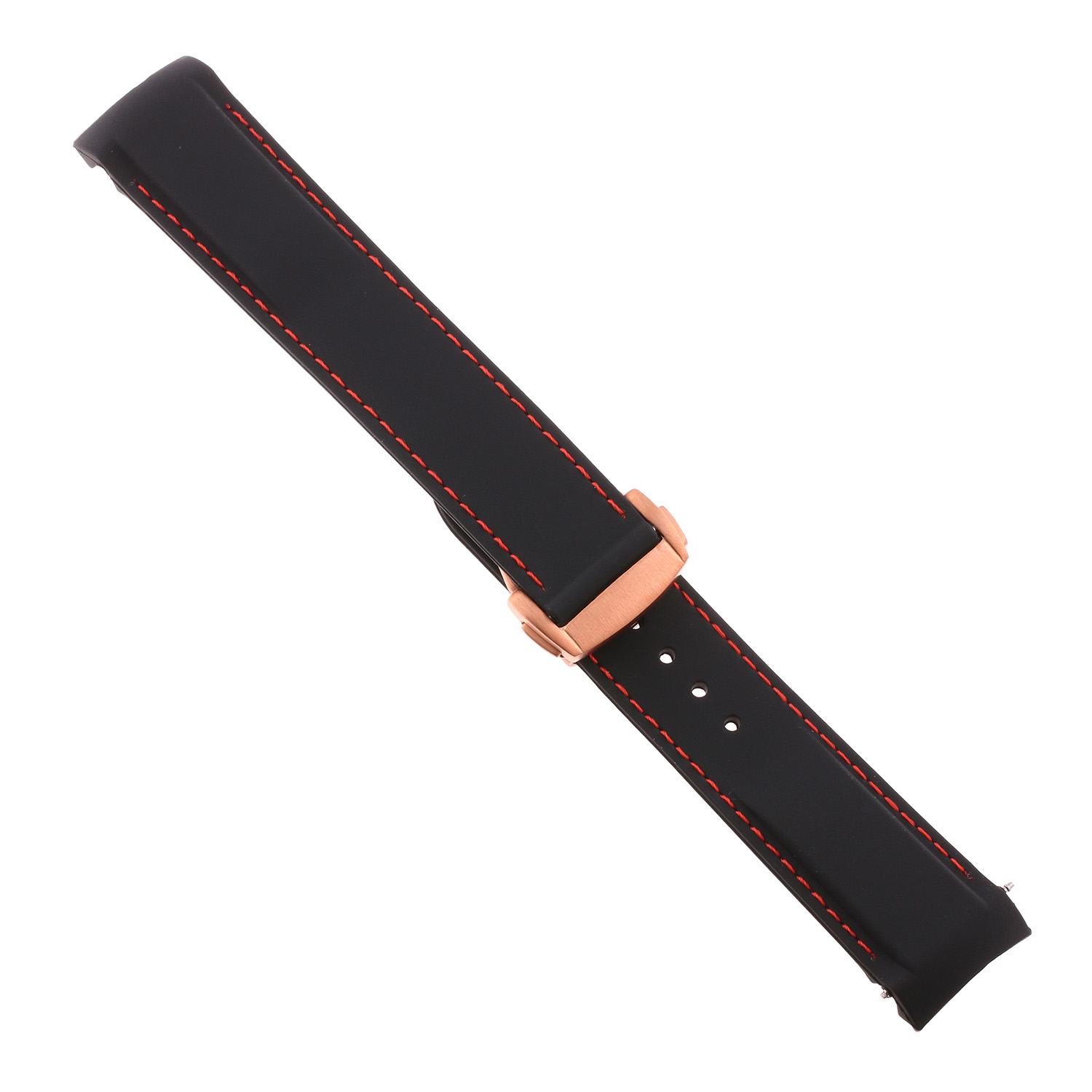 Rubber Strap W Rose Gold Clasp For Omega Seamaster Planet