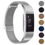 Fb.m1.ss Gallery Silver StrapsCo Milanese Mesh Stainless Steel Watch Band Strap For FitBit Charge 2