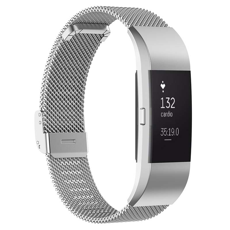 Fb.m1.ss Main Silver StrapsCo Milanese Mesh Stainless Steel Watch Band Strap For FitBit Charge 2