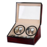 Mahogany Watch Winder With Faux Suede Interior For 4 Watches