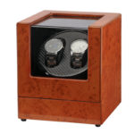 Wood & Carbon Fiber Watch Winder For 2 Watches 1